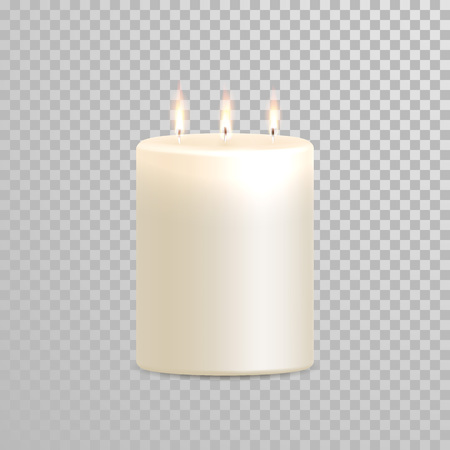 white candle: Burning candle with three wicks. Aromatic decorative round cylindrical candle stick burning flames on transparent background. Vector 3D realistic isolated decoration white or beige element design