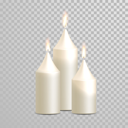 paraffin: Decorative white candles set. Vector 3D realistic isolated round cylindrical candle sticks with burning flames on transparent background. Wedding decoration white or beige element design
