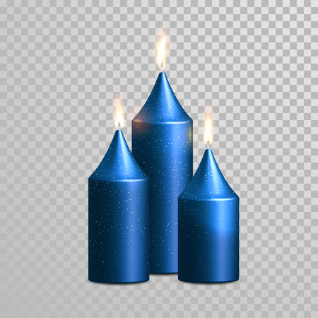 wax glossy: Aromatic blue glossy candles set. Vector 3D realistic isolated decorative candle sticks with burning flames on transparent background. Glittering gold glitter decoration