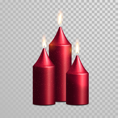 flames background: Romantic pink red candle flame burning. Aromatic candles vector decorative set. Vector 3D realistic isolated glittering candle sticks glowing flames on transparent background. Decoration design Illustration