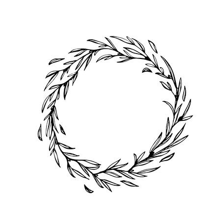 laurel leaf: Laurel wreath decoration. Hand drawn vector Christmas garland of leaf and branches twigs