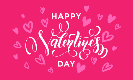 san: Happy Valentines Day greeting card calligraphy text with hearts pattern on pink background