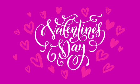 heart month: Valentines Day greeting card calligraphy text with hearts pattern on purple background