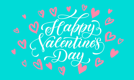 san: Valentines Day greeting card calligraphy text with hearts pattern on green background