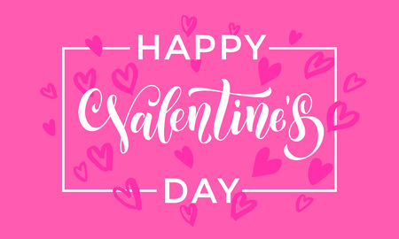 day saint valentin: Valentines heart pattern background for greeting card calligraphy text with white frame border font on red pink purple background. Valentines day 14 February love vector congratulation design