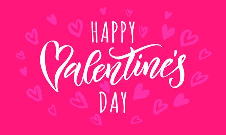 San Valentín texto de saludo y corazones vector patrón de la caligrafía de la tarjeta de felicitación con la fuente blanca sobre fondo de color rosa o rojo. Día de San Valentín de diseño enhorabuena 14 de FEBRERO Amor
