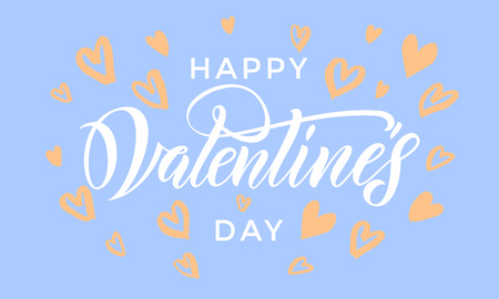 Valentines Day card with orange heart pattern calligraphy text for greeting card with white font on blue background. Valentines day 14 February love vector congratulation design