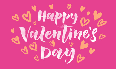 san: Valentines Day card with orange heart pattern calligraphy text for greeting card with white font on pink background. Valentines day 14 February love vector congratulation design Illustration