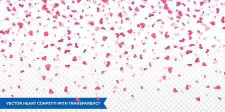 Pink hearts petals falling on transparent background for Saint Valentine Day greeting card design. Flower petal in shape of heart confetti Vectores