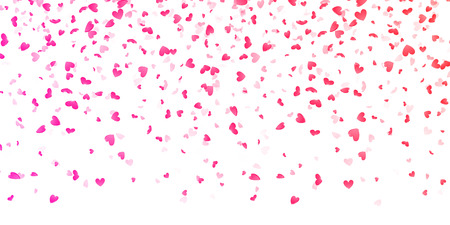 Hearts petals falling on white background for Saint Valentine Day greeting card design. Flower pink petals in shape of heart confetti Vectores