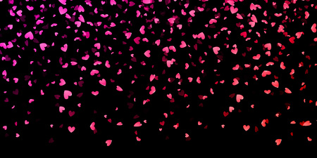 Pink hearts petals falling on black background for Saint Valentine Day greeting card design. Flower petal in shape of heart confetti