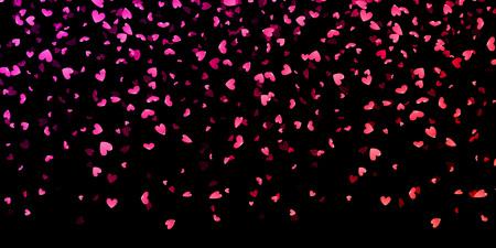 Rosa Herzen Blütenblätter fallen auf schwarzem Hintergrund für St. Valentinstag-Grußkartenentwurf. Blumenblumenblatt in Form von Herzen Konfetti