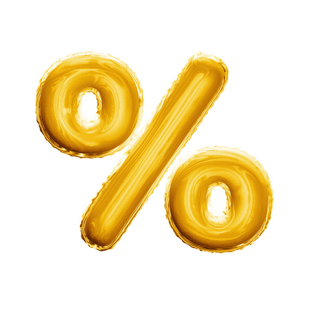 Balloon percentage sign symbol. Realistic 3D isolated gold percent helium balloon abc alphabet symbol and sign golden font text. Decoration element birthday wedding greeting design on white background