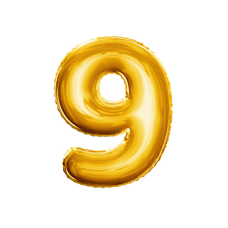 Balloon number 9 Nine. Realistic 3D isolated gold helium balloon abc alphabet golden font text. Decoration element for birthday or wedding greeting design on white background Foto de archivo