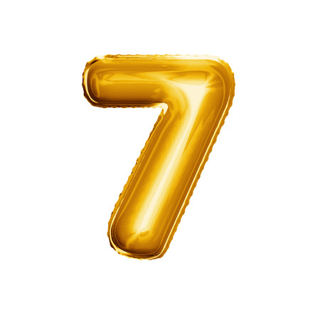 Balloon number 7 Seven. Realistic 3D isolated gold helium balloon abc alphabet golden font text. Decoration element for birthday or wedding greeting design on white background Foto de archivo