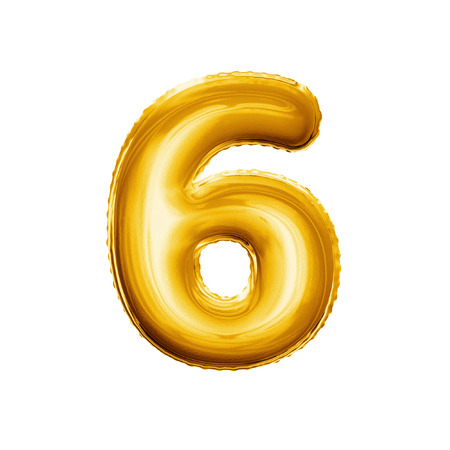 Balloon number 6 Six. Realistic 3D isolated gold helium balloon abc alphabet golden font text. Decoration element for birthday or wedding greeting design on white background