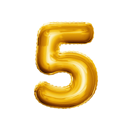 Balloon number 5 Five. Realistic 3D isolated gold helium balloon abc alphabet golden font text. Decoration element for birthday or wedding greeting design on white background