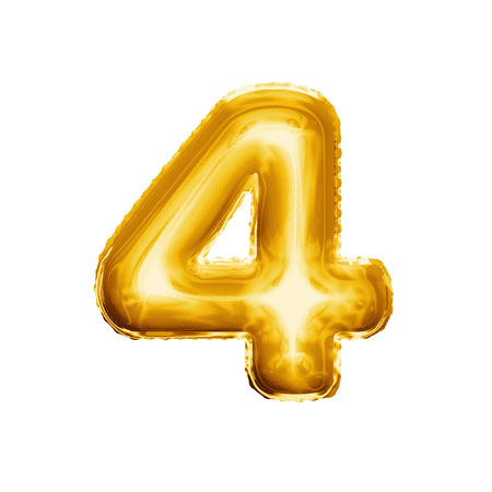 Balloon number 4 Four . Realistic 3D isolated gold helium balloon abc alphabet golden font text. Decoration element for birthday or wedding greeting design on white background