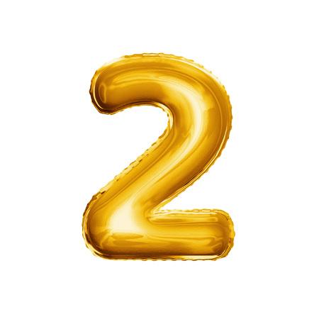 数 2 をバルーン 2 つ。リアルな 3 D は、ゴールド ヘリウム風船 abc アルファベット黄金フォント テキストを分離しました。誕生日や結婚式の白い背 写真素材