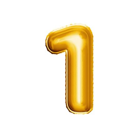 バルーンの番号 1 つ。リアルな 3 D は、ゴールド ヘリウム風船 abc アルファベット黄金フォント テキストを分離しました。誕生日や結婚式の白い背