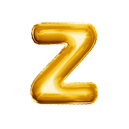 Balloon letter Z. Realistic 3D isolated gold helium balloon abc alphabet golden font text. Decoration element for birthday or wedding greeting design on white background Banco de Imagens