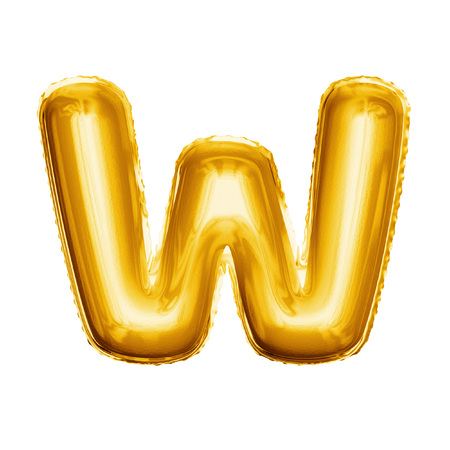 Balloon letter W. Realistic 3D isolated gold helium balloon abc alphabet golden font text. Decoration element for birthday or wedding greeting design on white background
