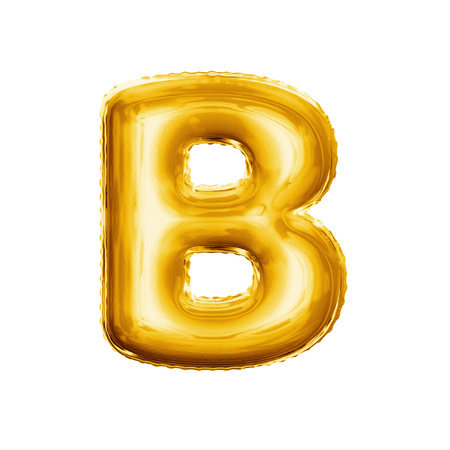 Balloon letter B. Realistic 3D isolated gold helium balloon abc alphabet golden font text. Decoration element for birthday or wedding greeting design on white background Foto de archivo