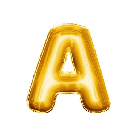 Balonowy list A. Realistyczny 3D odizolowywał złocistego helowego balonowego abc abecadła tekst złotego chrzcielnicy. Dekoracja element dla urodzinowego lub ślubnego powitanie projekta na białym tle