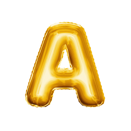 Balloon letter A. Realistic 3D isolated gold helium balloon abc alphabet golden font text. Decoration element for birthday or wedding greeting design on white background Foto de archivo