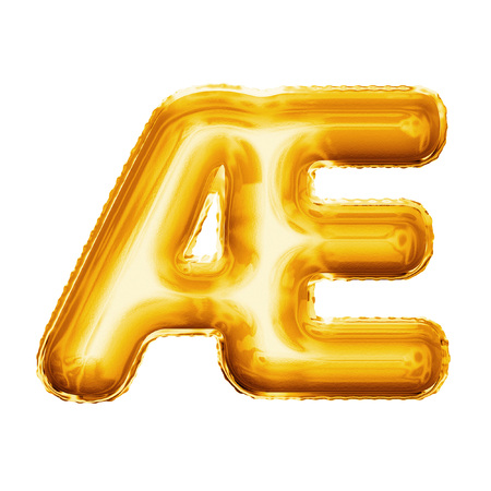 ligature: Balloon letter AE ligature. Realistic 3D isolated gold helium balloon abc French or Danish language alphabet golden font text. Decoration element for birthday wedding greeting on white background