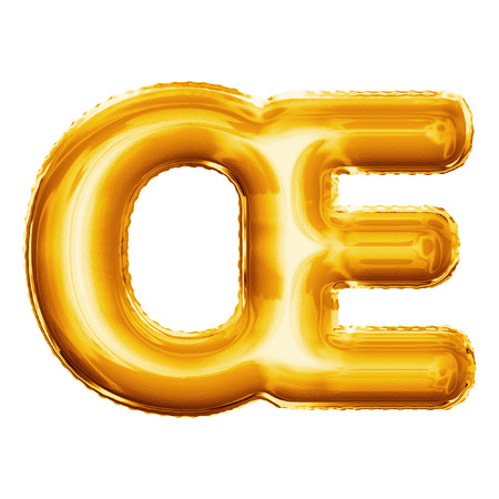 ligature: Balloon letter OE ligature. Realistic 3D isolated gold helium balloon abc French or Danish alphabet golden font text. Decoration element for birthday or wedding greeting design on white background Stock Photo