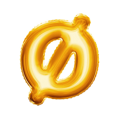 Balloon letter O minuscule symbol. Realistic 3D isolated gold helium balloon abc Danish language alphabet golden font text. Decoration element for birthday wedding greeting design on white background