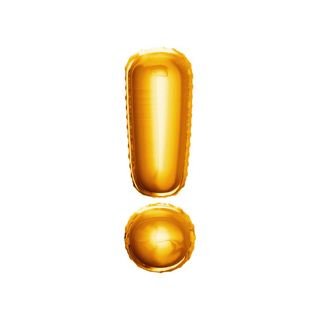 Balloon exclamation mark. Realistic 3D isolated gold helium balloon abc alphabet symbol and sign golden font text. Decoration element for birthday or wedding greeting design on white background Foto de archivo