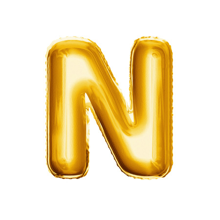 Balloon letter N. Realistic 3D isolated gold helium balloon abc alphabet golden font text. Decoration element for birthday or wedding greeting design on white background