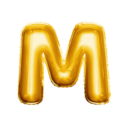 Balloon letter M. Realistic 3D isolated gold helium balloon abc alphabet golden font text. Decoration element for birthday or wedding greeting design on white background