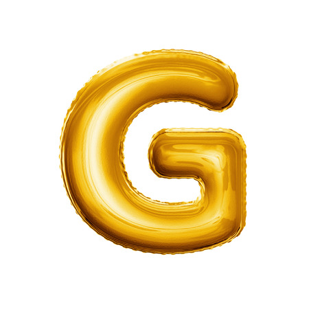 Balloon letter G. Realistic 3D isolated gold helium balloon abc alphabet golden font text. Decoration element for birthday or wedding greeting design on white background Foto de archivo