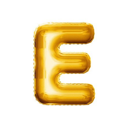 Balloon letter E. Realistic 3D isolated gold helium balloon abc alphabet golden font text. Decoration element for birthday or wedding greeting design on white background 스톡 콘텐츠
