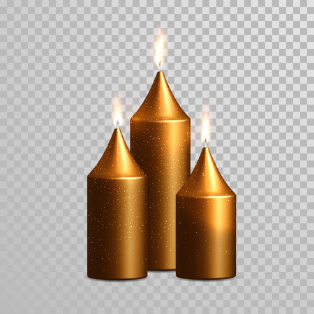 wax glossy: Vector candles with burning flames of bronze wax paraffine