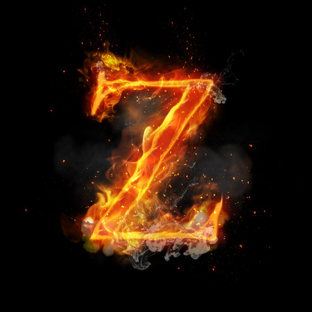infernal: Fire letter Z of burning flame. Flaming burn font or bonfire alphabet text with sizzling smoke and fiery or blazing shining heat effect. Incandescent hot red fire glow on black background