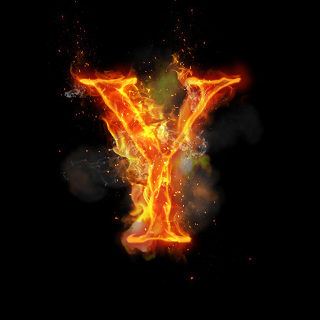 infernal: Fire letter Y of burning flame. Flaming burn font or bonfire alphabet text with sizzling smoke and fiery or blazing shining heat effect. Incandescent hot red fire glow on black background