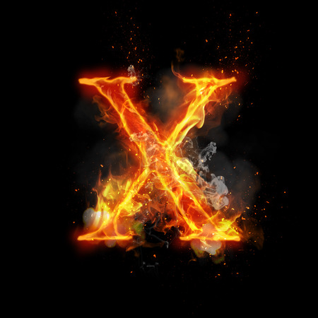 infernal: Fire letter X of burning flame. Flaming burn font or bonfire alphabet text with sizzling smoke and fiery or blazing shining heat effect. Incandescent hot red fire glow on black background