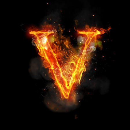 fiery: Fire letter V of burning flame. Flaming burn font or bonfire alphabet text with sizzling smoke and fiery or blazing shining heat effect. Incandescent hot red fire glow on black background