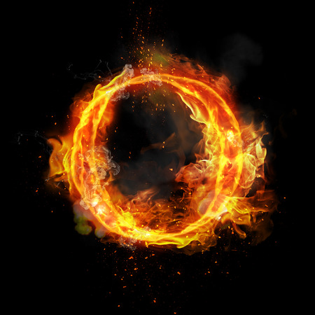flame burn: Fire letter O of burning flame. Flaming burn font or bonfire alphabet text with sizzling smoke and fiery or blazing shining heat effect. Incandescent hot red fire glow on black background Stock Photo