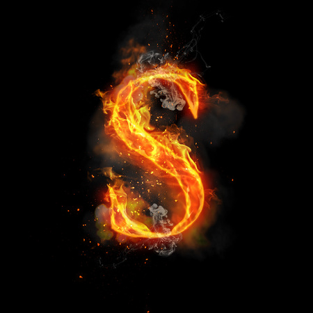 infernal: Fire letter S of burning flame. Flaming burn font or bonfire alphabet text with sizzling smoke and fiery or blazing shining heat effect. Incandescent hot red fire glow on black background
