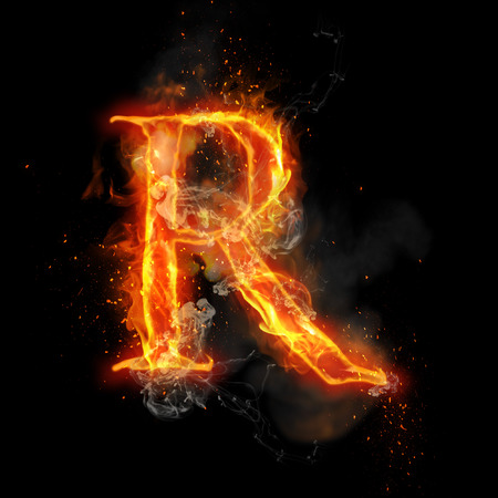 infernal: Fire letter R of burning flame. Flaming burn font or bonfire alphabet text with sizzling smoke and fiery or blazing shining heat effect. Incandescent hot red fire glow on black background