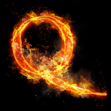 infernal: Fire letter Q of burning flame. Flaming burn font or bonfire alphabet text with sizzling smoke and fiery or blazing shining heat effect. Incandescent hot red fire glow on black background