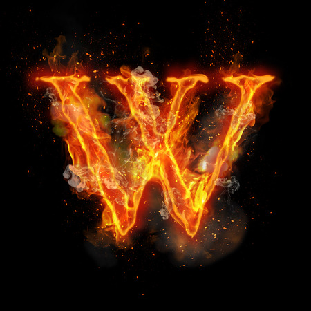 infernal: Fire letter W of burning flame. Flaming burn font or bonfire alphabet text with sizzling smoke and fiery or blazing shining heat effect. Incandescent hot red fire glow on black background