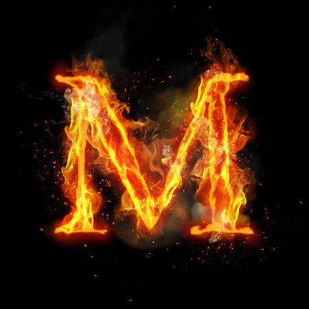 infernal: Fire letter M of burning flame. Flaming burn font or bonfire alphabet text with sizzling smoke and fiery or blazing shining heat effect. Incandescent hot red fire glow on black background