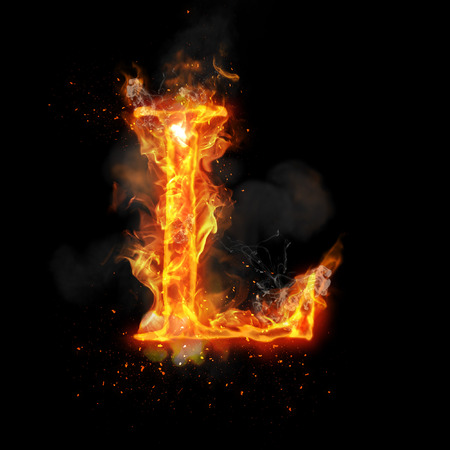 infernal: Fire letter L of burning flame. Flaming burn font or bonfire alphabet text with sizzling smoke and fiery or blazing shining heat effect. Incandescent hot red fire glow on black background