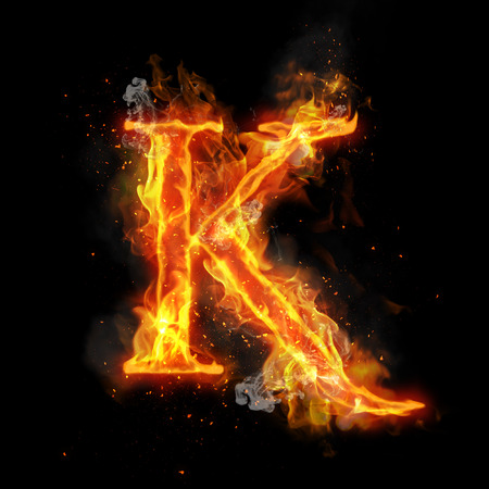 infernal: Fire letter K of burning flame. Flaming burn font or bonfire alphabet text with sizzling smoke and fiery or blazing shining heat effect. Incandescent hot red fire glow on black background